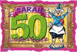 50 Jaar Sarah Deurbord Stripes - 48x33cm