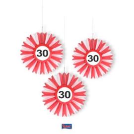 30 Jaar Verkeersbord Honeycomb Waaier - 3 stuks