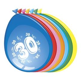 Ballonnen 30 jaar (Ø30cm, 8st)