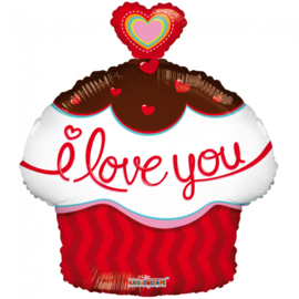 Folieballon Cupcake 'I Love You' - 45 cm