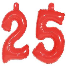 Opblaas cijfers 25 jaar Rood