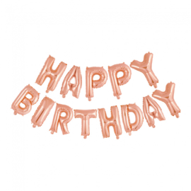Folieballonnen Set 'Happy Birthday' Rosé Goud