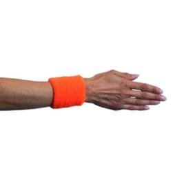 Polsband neon oranje 2 stuks