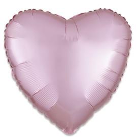 Folieballon hart satin pastelroze 43 cm
