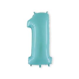 Cijfer 1 Licht Blauw - 100 cm
