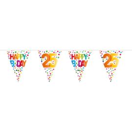 25 Jaar Happy Bday Stippen Vlaggenlijn - 10 meter