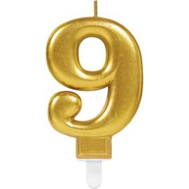 Verjaardag Kaars 9 jaar- Goud 7.5 cm