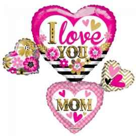 Folieballon SuperShape 'I Love You Mom' - 91 cm