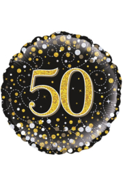 Folieballon 50 Jaar Zwart, Goud & Zilver  - 45 cm