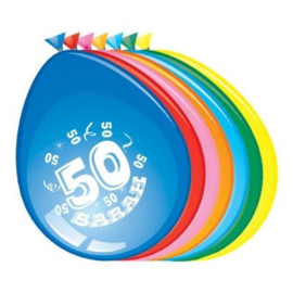 Latex Ballonnen Sarah 50 jaar 8 Stuks