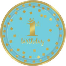 1st Birthday Bordjes Blauw & Goud