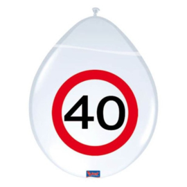 Latex Ballonnen 40 jaar 8 Stuks Verkeersbord