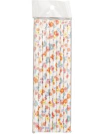 Rietjes wit met bloemen - 20 stuks