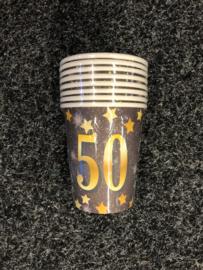 50 Jaar Party Gold Bekers - 8 stuks
