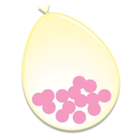 Ballonnen + confetti roze (Ø30cm, 6st)