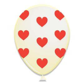 Ballonnen met hartjes rood (Ø30cm, 6st)