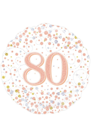 Folieballon 80 Jaar Rosé Goud & Wit  - 45 cm