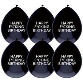 Ballonnen Happy F*cking Birthday - 6 stuks