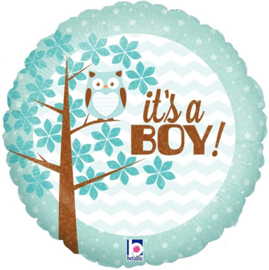 "Folieballon Baby Uil ""It's A Boy!"" - 45 cm"