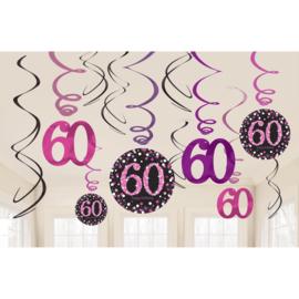 Glitterfeest 60 Jaar Roze Hangende Swirls - 12 stuks