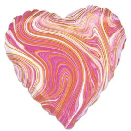 Folieballon Marblez hart roze (43cm)