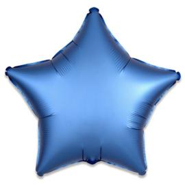 Folieballon ster satin azuurblauw (43cm)