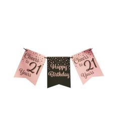 Party flag banner rosé/black - 21