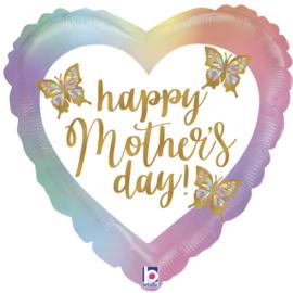 Folieballon Happy Mothersday met vlinders - 46 cm