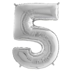 Cijfer 5 Zilver - 66 cm