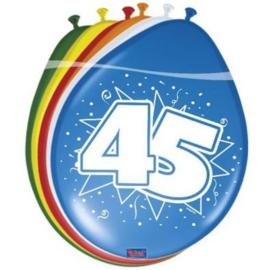 Latex Ballonnen 45 jaar ster  8 Stuks lucht