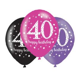 Ballonnen sparkling pink '40' (Ø28cm, 6st)