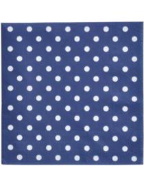 20 stuks blauw papieren servetten met witte stippen