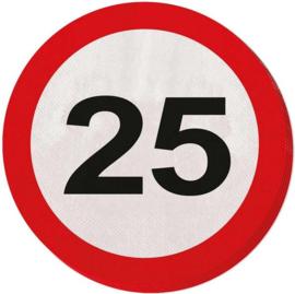 25 jaar verkeersbord servetten - 20 stuks