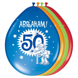 50 Jaar Abraham Knalfeest Ballonnen 30cm - 8 stuks