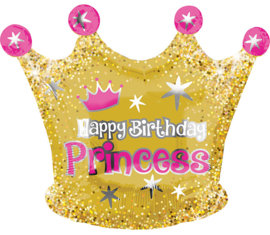 Folieballon Happy Birthday Princess Crown - 50 cm