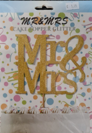 Cake Topper Mr & Mrs Goud Glitter