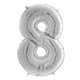 Cijfer 8 Zilver - 66 cm