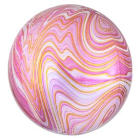 Folieballon Roze Marmer Orbz - 41 cm