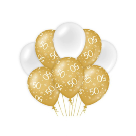 Ballonnen 50 jaar Goud & Wit - 8 stuks