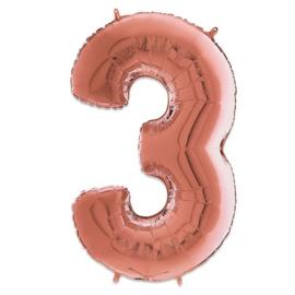 Cijfer 3 Rosé Goud - 66 cm