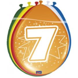 Latex Ballonnen 7 jaar ster  8 Stuks lucht