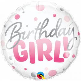 Folieballon Birthday Girl- Pink Dots - 45 cm