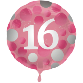Folieballon Glossy Pink 16 Jaar - 45 cm