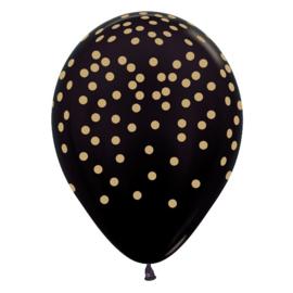 Ballon Zwart met Gouden opdruk Confetti (1st)