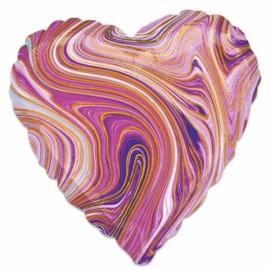 Folieballon Marblez hart paars (43cm)
