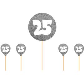 Taart Topper Zilverkleurige 25 Jaar
