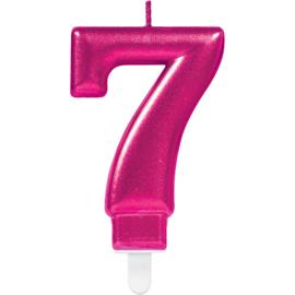 Verjaardag Kaars 7 jaar- Roze 7.5 cm