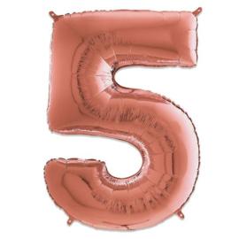 Cijfer 5 Rosé Goud - 66 cm