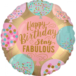 Folieballon 'HBD' Stay Fabulous - 43 cm