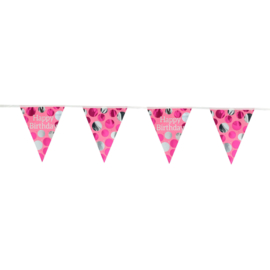 Vlaggenlijn Glossy Pink 'Happy Birthday' - 4 meter